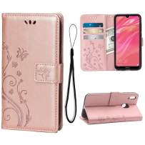 Wallet Case for Huawei Y7 2019/Y7 Pro 2019/Y7 Prime 2019 Card Holder Embossed Butterfly Flower PU Leather Magnetic Flip Cover for Huawei Y7 2019/Y7 Pro 2019/Y7 Prime 2019 (Rose Gold)