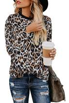 Womens Leopard Print Tops Casual Cute Shirts Basic Long Sleeve Soft Loose Blouse