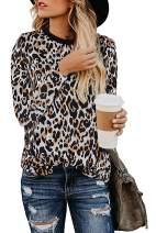 Womens Leopard Print Tops Casual Cute Shirts Basic Long Sleeve Soft Loose Blouse