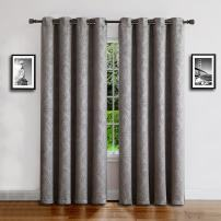 "Warm Home Designs 1 Panel of Long Size Light Gray 54"" (Width) by 96"" (Length) Textured Room Darkening Curtains with Embossed Damask Flower Pattern. Drapes Allow Privacy & Reduce Noise. EV Grey 54x96"