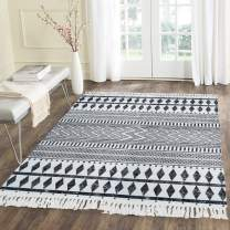 HEBE Large Cotton Rugs 4'x6' Machine Washable Printed Woven Tassel Area Rugs Black and Cream White Floor Carpet Mat Bohemian Rug for Living Room Kitchen Laundry