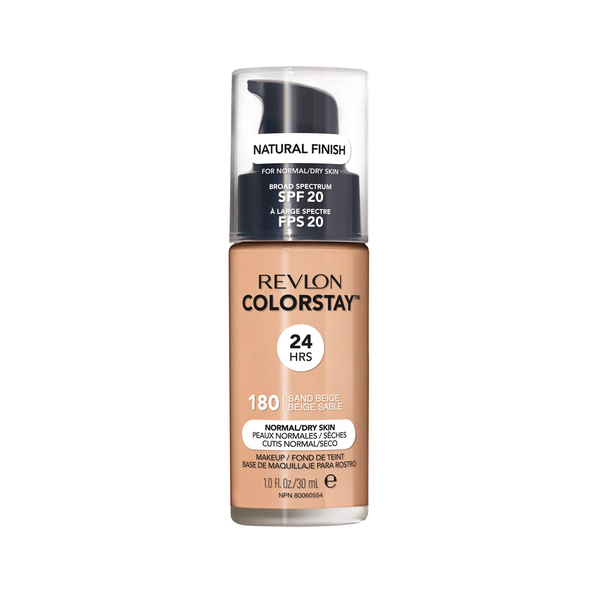 Revlon ColorStay Makeup for Normal/Dry Skin SPF 20, Longwear Liquid Foundation, with Medium-Full Coverage, Natural Finish, Oil Free, 135 Vanilla, 1.0 oz