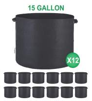 TopoGrow 12-Pack 15 Gallon Grow Bags Black Fabric Round Aeration Pots Container for Nursery Garden and Planting Grow (15 Gallon, Black(12-Pack))