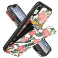LAMEEKU Wallet Case for iPhone XR 6.1'', Rainforest Design Pattern Case with Credit Card Holder Slot Money Pocket, Shockproof Protective Bumper Cover for iPhone XR - Rainforest Pink Flower