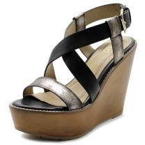 Ollio Womens Shoe Vintage Burnish Wedge Cross Strap Sandal