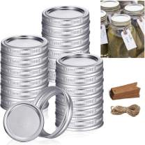 Wide Mouth Canning Lids, 12 Set Lids for Mason Jar Canning Lids - Food Grade Material, Split-Type Lids Leak Proof and Secure Canning Jar Caps, 100% Fit & Airtight for Regular Mouth Jars(Silver-86MM)