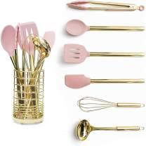 Gold & Pink Kitchen Utensil Set with Holder - Pink Cooking Utensils:Gold Whisk,Gold Ladle,Pink Spatula,Gold Tongs,Pink Spoon,Turner,Gold Utensil Holder - Pink Kitchen Accessories & Pink Kitchen Decor