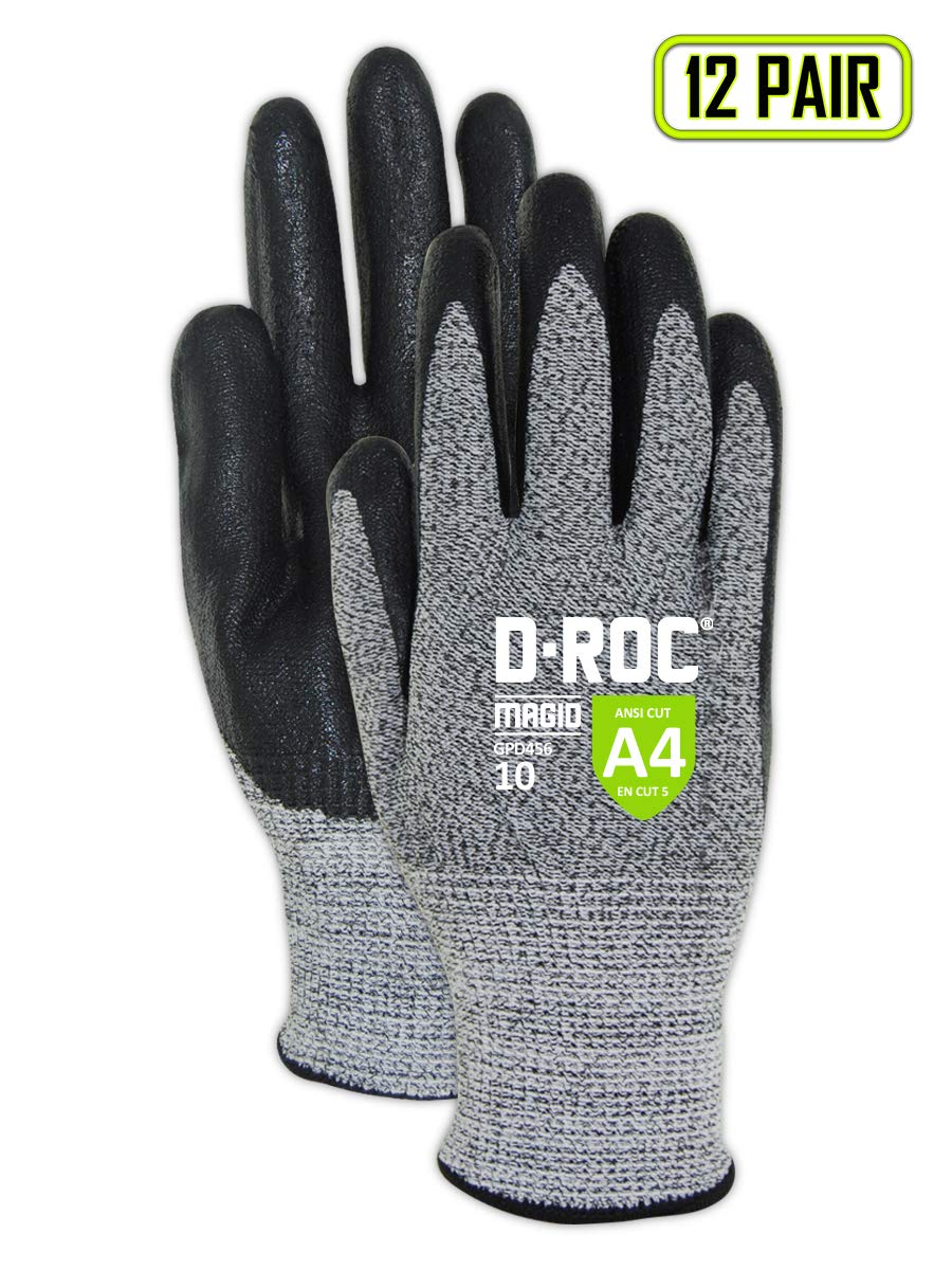 MAGID Cut Resistant Foam Nitrile Coated Gloves, Size 11 (12 Pairs)