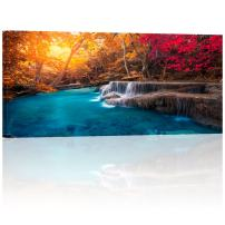 Visual Art Decor Large Piece Scenery Canvas Wall Art Colorful Autumn Forest Blue Lake Photography Canvas Prints Framed and Stretched Home Bedroom Living Room Wall Decoration