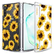 Caka Clear Case for Galaxy Note 10 Floral Clear Case Flower Pattern Girly Slim Anti Scratch Excellent Grip Premium Soft TPU Protective Case for Galaxy Note 10 (Sunflower)