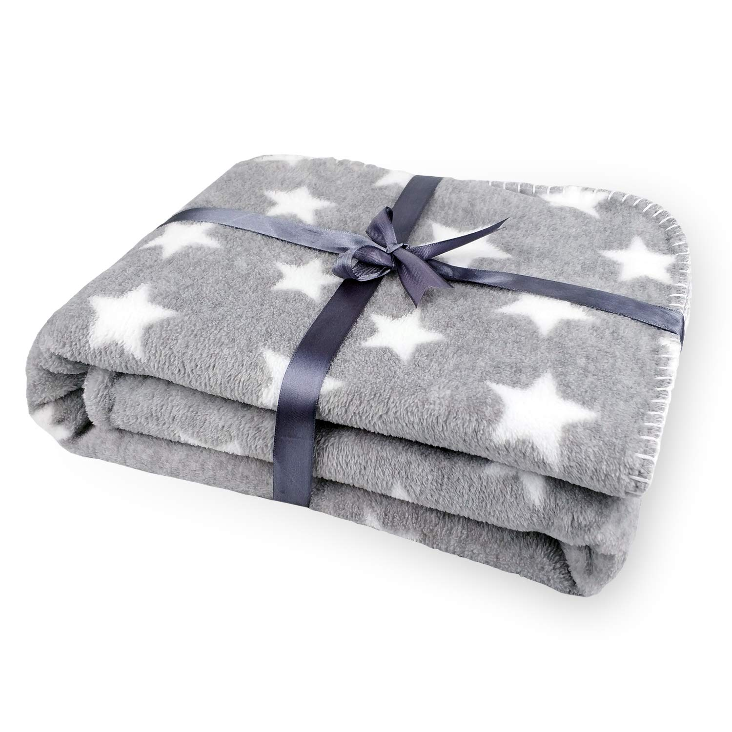 """Zebrum Thick Kids Fleece Blanket, 29""""x39"""" Plush Flannel Throw for Girls &Boys, Extra Soft &Warm &Cozy, Double Layer&Reversible &Anti-Pilling &Easy Care Choice(Grey Star)"""