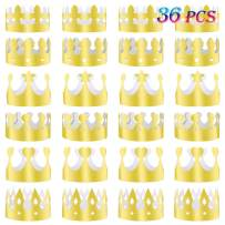 TUPARKA 36 Pcs Paper Crown Golden King Crowns Gold Foil Party Crown Hat Cap for Birthday Celebration Baby Shower Photo Props (6 Styles)