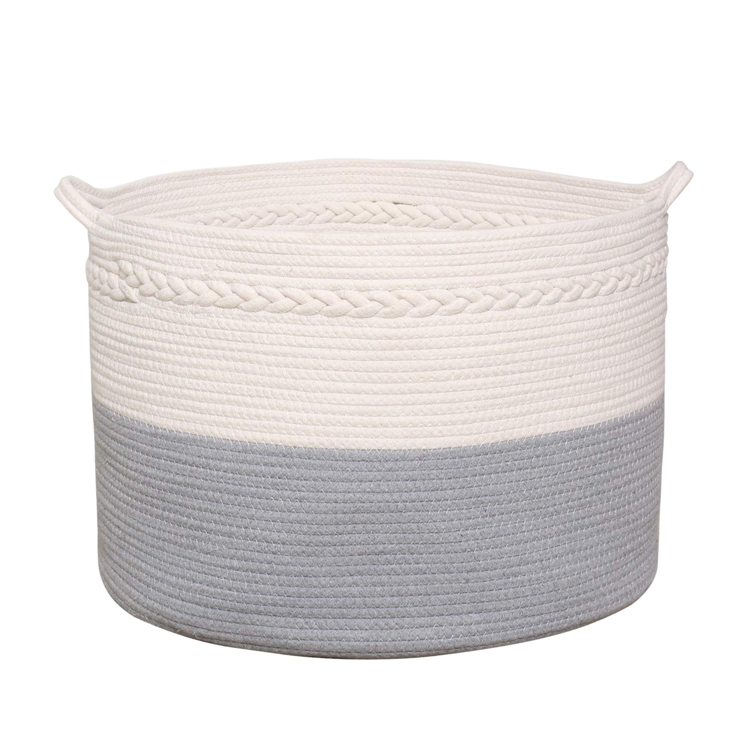 COMEMORY Cotton Rope Basket, 20 x 14 inch Laundry Blanket Storage Basket with Built-in Handles and Decorative Braid, Baby Nursery Bin for Home Décor and Organizing