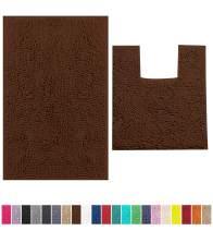 LuxUrux Bathroom Rugs Chenille 2-Piece Bath Mat Set, Soft Plush Anti-Slip Bath Rug +Toilet Mat.1'' Microfiber Shaggy Carpet, Super Absorbent Machine Washable Bath Mats (Curved Set Medium, Brown)