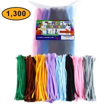 TOPNEW 1300PCS Pipe Cleaners in 13 Assorted Colors, Value Pack for DIY Multicolor Set, Art Creative and Crafts Decorations (6 mm x 12 inch)