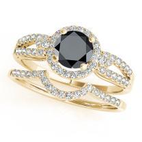 1.35 Ct. Halo Black Diamond Engagement Bridal Set In 14k Rose Gold