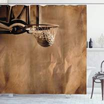 """Ambesonne Basketball Shower Curtain, Ball in The Net on Crumpled Paper Style Backdrop Scoring Sports Competition Print, Cloth Fabric Bathroom Decor Set with Hooks, 75"""" Long, Sepia"""