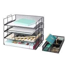 Blu Monaco Desk Organizers and Accessories Stackable Paper Tray - 4 Tier Stackable Letter Trays - Black Metal Mesh File Holder Organizer