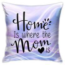 OHDS Home is Where The Mom is Pattern Cozy Throw Pillow Covers, Soft Breathable Decorative Outdoor Pillow Cases, Modern Cushion Cover for Couch, Bed, 18x18 Inches