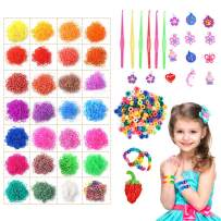 Koogel 13,000 Rainbow Rubber Bands Refill Set, 11,800 Premium Quality Loom Rubber Bands 35 Pendants,6 Small Crochets,300 Beads Pack,500 S Buckles, Organizer for DIY Bracelets Jewelry Dolls Hats