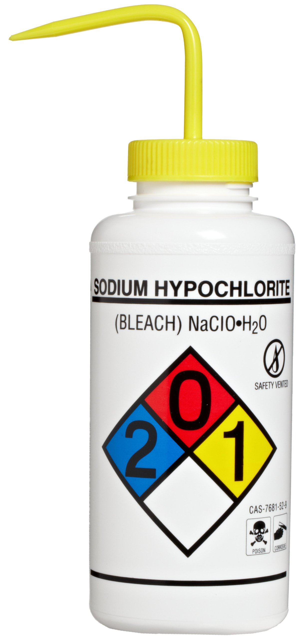 Bel-Art Right-to-Know Safety-Vented/Labeled 4-Color Sodium Hypochlorite (Bleach) Wide-Mouth Wash Bottles; 1000ml (32oz), Polyethylene w/Yellow Polypropylene Cap (Pack of 2) (F11832-0015)