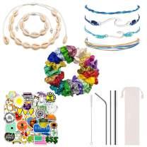VSCO Girl Stuff (130 Pcs) Pack - Trendy Boho-Chic Bracelets, Shell Necklace Shell Bracelet, Stickers for Water Bottles, Silk Satin Hair Scrunchies, Metal straw