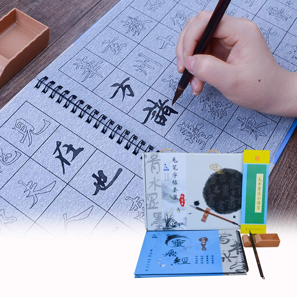 Tianjintang Eco-Friendly Rewritable No Ink Needed Chinese Calligraphy Water Writing Magic Book Set for Learner Regular Script Xiao Kai 小楷 Lingfeijing 灵飞经 Zhong Shaojing 钟绍京 Pack of 5pcs