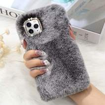 for iPhone 11 Case Cute Girly Faux Fur Case with Chic Bling Crystal Diamond Bowknot Flexible Silicon Soft Fluffy Furry Shockproof Protective Phone Case for iPhone 11 Grey