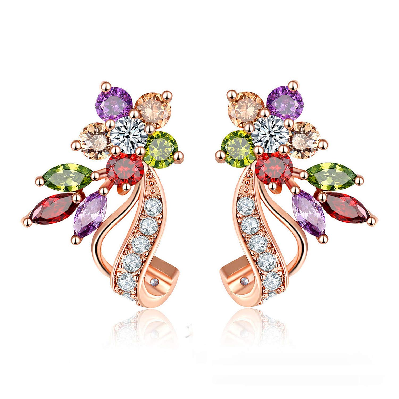 Uloveido Dainty Multi Color Cubic Zirconia Crystal Flower Leaf Stud Wrap Earrings for Women Rose Gold Plated Y492