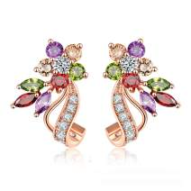 Uloveido Dainty Multi Color Cubic Zirconia Crystal Flower Leaf Stud Wrap Earrings for Women Rose Gold Plated Y492