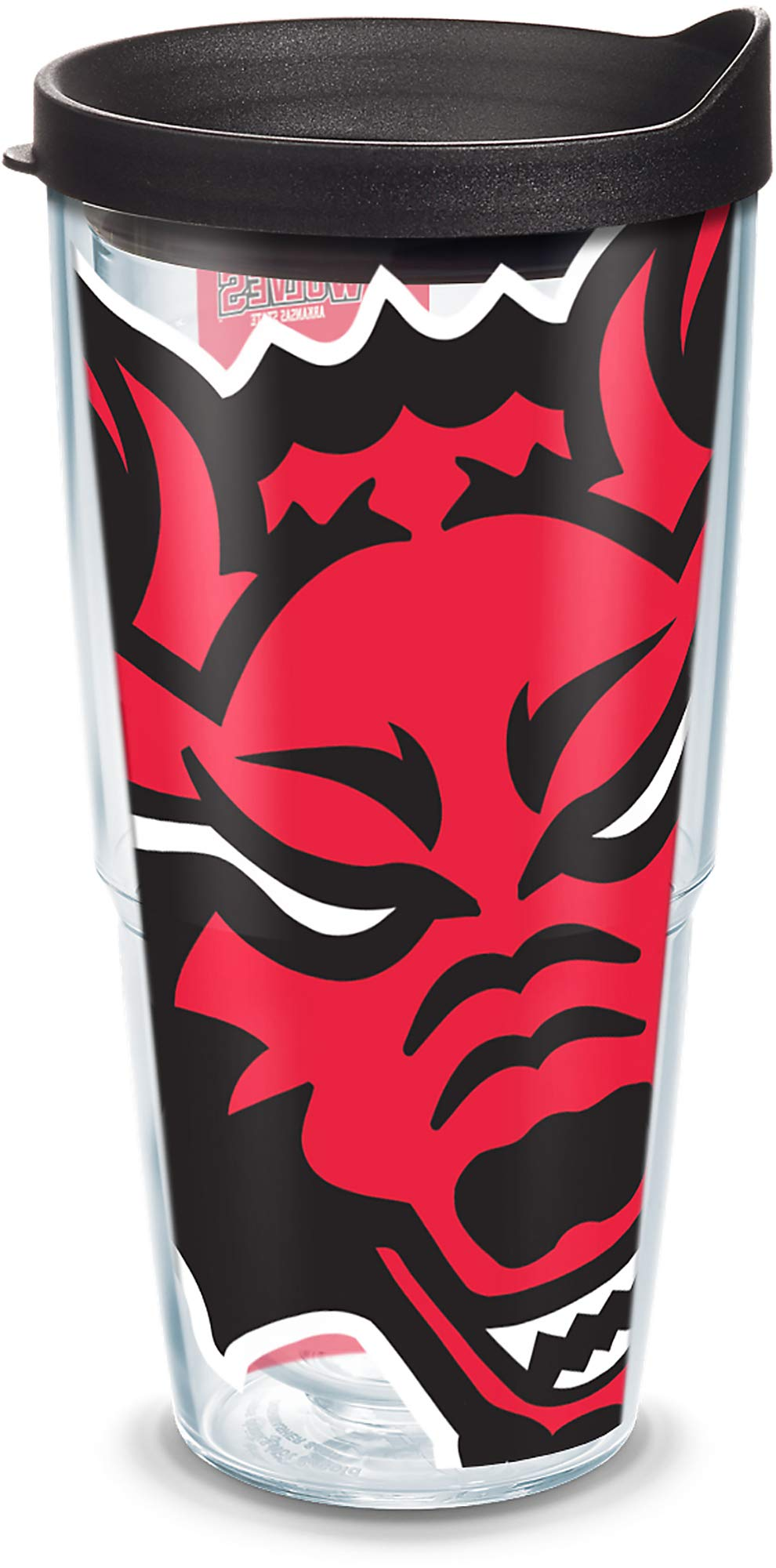 Tervis 1089791 Arkansas State Red Wolves Mascot Colossal Tumbler with Wrap and Black Lid 24oz, Clear