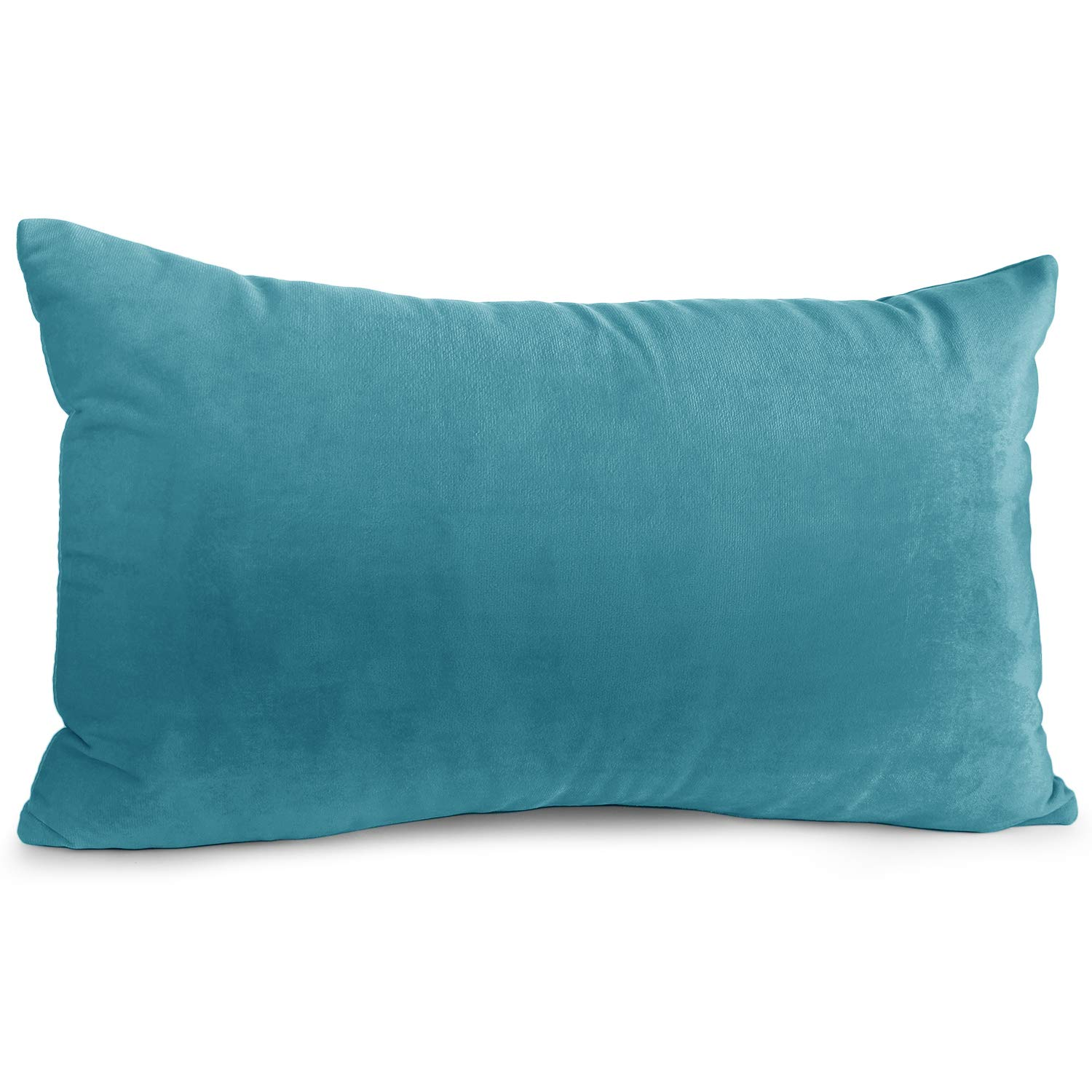 """Nestl Bedding Throw Pillow Cover 12"""" x 20"""" Soft Square Decorative Throw Pillow Covers Cozy Velvet Cushion Case for Sofa Couch Bedroom - Teal"""
