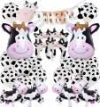 JOYMEMO Cow Party Decorations Farm Animal Theme Party Supplies, Happy Birthday Banner, Cow Foil Balloons, Mylar Balloons Decor Set