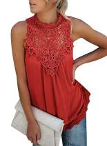 ZKESS Women's Casual Tops Lace Crochet Cold Shoulder Long Sleeve/Sleeveless Loose Blouse Shirts