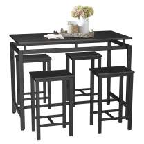 SSLine 5-Piece Bar Table and Chair Set,Modern Industrial Pub Bar Dining Table Set Wood Kitchen Table Set,Counter Height Dining Set with 4 Stools (Black-3)