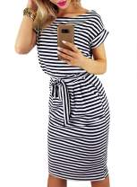 Dearlove Women Short Sleeve Striped Casual Wear to Work Bodycon Pencil Dress with Pockets