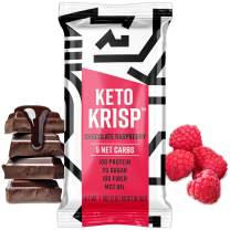 Keto Krisp Protein Snack Bars - Low-Carb, Low-Sugar - (12 Pack, Chocolate Raspberry) - Gluten-Free Crispy, Perfectly Delicious, Ketogenic Healthy Diet Snacks and Food