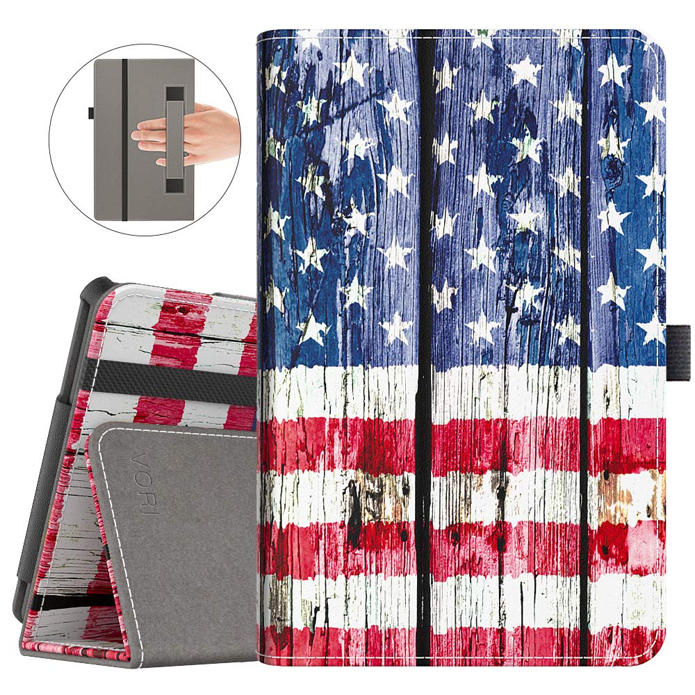 VORI Case for All-New Fire 7 Tablet (9th Generation, 2019 Release) Folio Smart Cover with Auto Wake/Sleep, American Flag