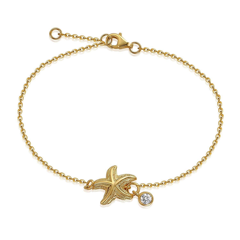 YAN & LEI Sterling Silver Shell Starfish Snowflake CZ Charm Slim Dainty Adjustable Bracelet