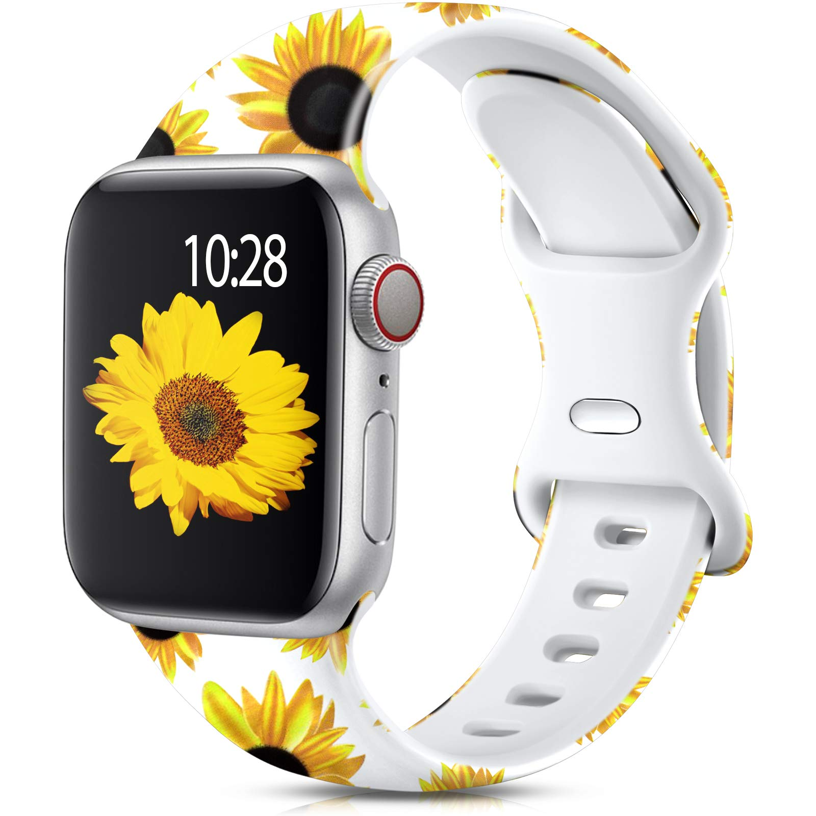 Muranne Compatible with Apple Watch Band SE 44mm 42mm for Women Womens Stylish Pattern Fashion Printed Soft Silicone Replacement Wristband for iWatch Series 6 5 4 3 2 1, Sunflower, S/M