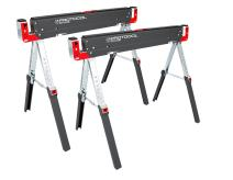PROTOCOL Equipment Adjustable Height Work Table Folding Sawhorses, Set of Two, Durable Steel Construction, Folding Legs, 2x4 Table Support Arms, 2,600 lb. Combined Loading Capacity