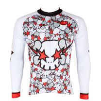 ILPALADINO Men's Cycling Jersey Long Sleeve Biking Shirts Skulls Pattern