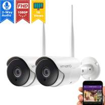 xmartO XMARTO 1080p HD Wireless Security Camera, Two-Way Audio, WiFi IP Home Surveillance Bullet Camera with Night Vision, Remote Access, IP65 Weather-Resistant, Motion Detection Alert (2-Pack)
