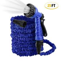 ActionEliters Expandable Garden Hose, Flexible Water Hose 7 Functions Hose Nozzles with Lightweight Triple Latex Core and Advanced Strength Fabric Protection for Gardening Car Washing (25ft Blue)