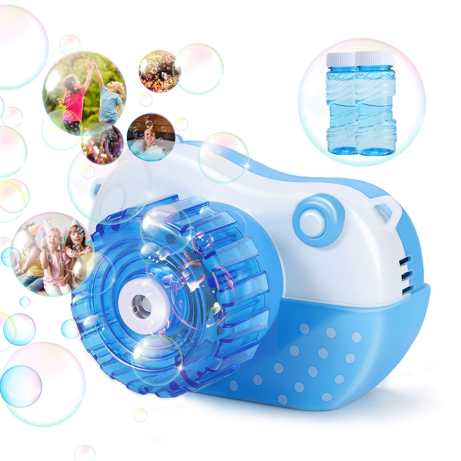 Bubble Machine, Vogek Funny Camera Bubble Blower Portable Baby Bubble Maker with Music and Light Outdoor & Indoor Activity, Best Gaming Toy Gift for Kids Toddlers Boys Girls Pets (Blue)