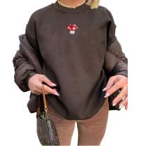 Women Long Sleeve Mushroom Embroidery Casual Oversized Crewneck Pullover Sweatshirt Tops