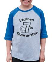 7 ate 9 Apparel Kids Seven Birthday Quarantine Blue Baseball Tee