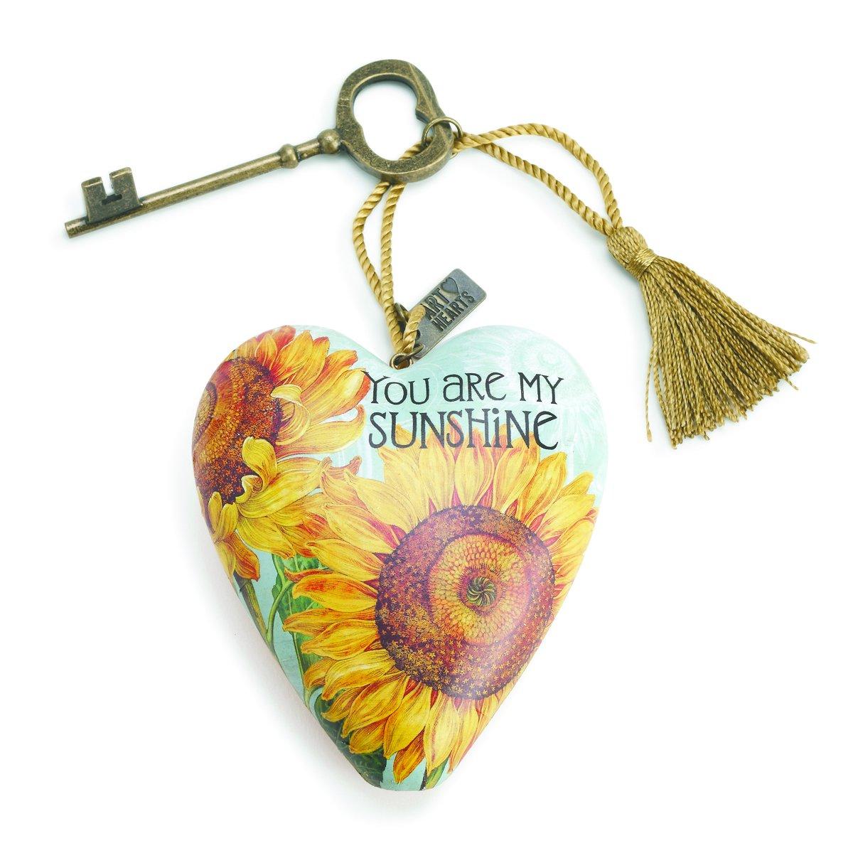 DEMDACO You Are My Sunshine Sunflower Yellow 4 x 3 Inch Heart Shaped Resin Keepsake Decoration