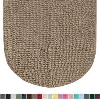 Gorilla Grip Original Luxury Chenille Oval Bath Rug Mat, 42x24, Extra Soft and Absorbent Large Shaggy Bathroom Rugs, Machine Wash Dry, Plush Carpet Mats for Tub, Shower, and Bath Room, Beige