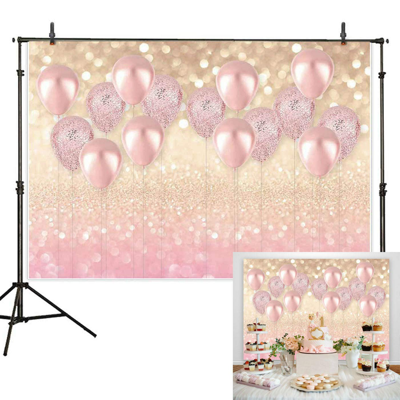Haboke 7x5ft Durable/Soft Fabric Rose Gold Party Decorations Pink Balloon Gold Bokeh Photo Backdrop for Birthday Baby Bridal Shower Bachelorette Party Supplies Photography Background Studio Props